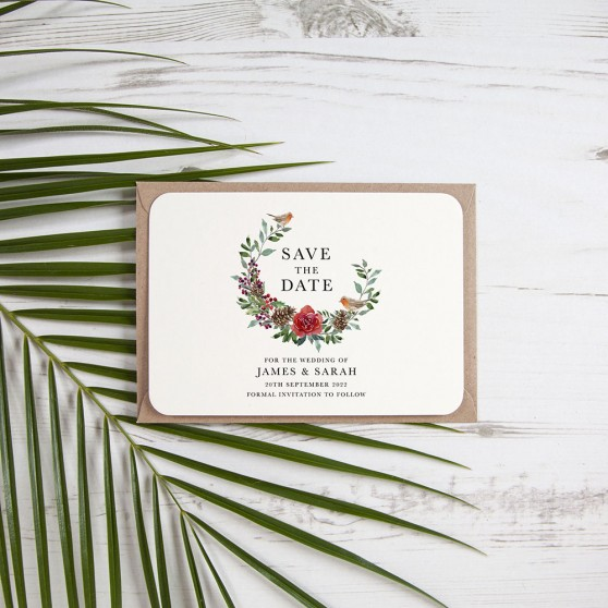 'Christmas Holly' Save the Date