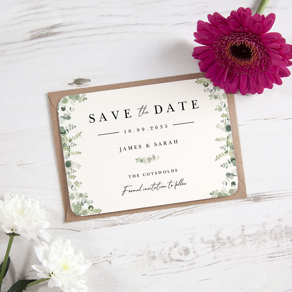 'Classic Eucalyptus CE10' Save the Date Sample