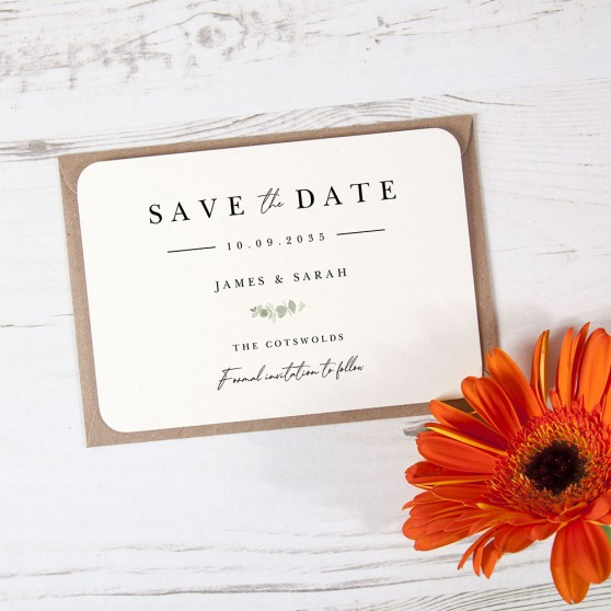 'Classic Eucalyptus CE11' Save the Date Sample
