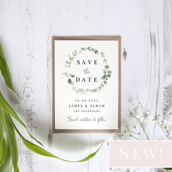 'Classic Eucalyptus CE15' Save the Date Sample