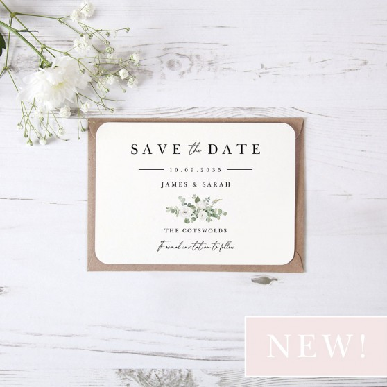 'Classic Eucalyptus CE18' Save the Date Sample