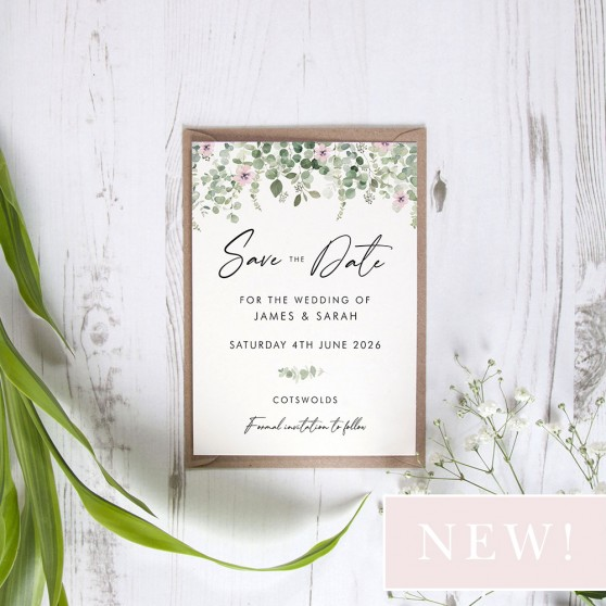 'Floral Classic Eucalyptus CE16' Save the Date Sample