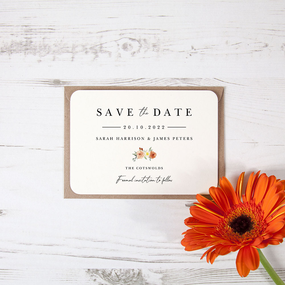 'Classic Dahlia Rose RD11' Save the Date Sample