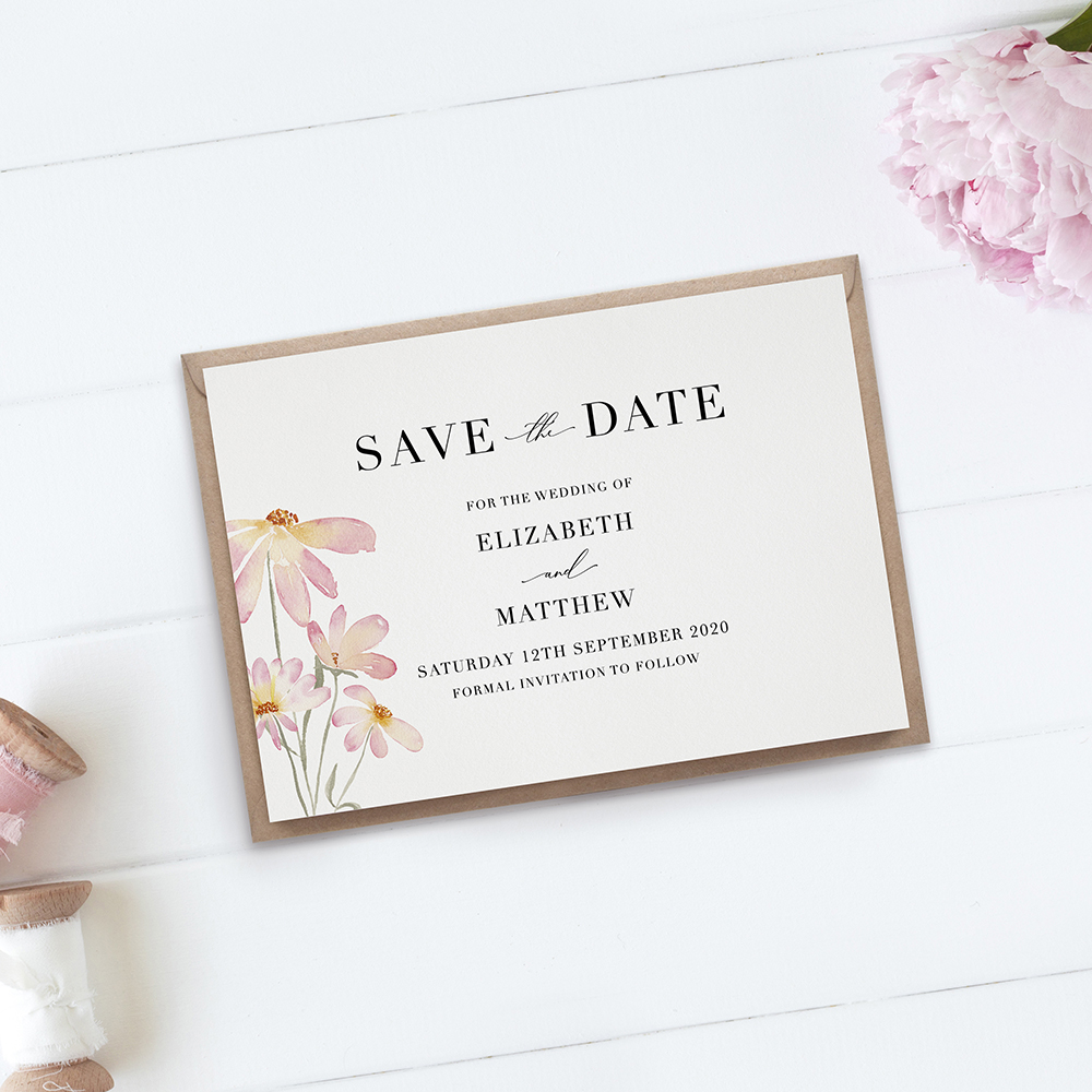 'Daisy Pink' Save the Date Sample