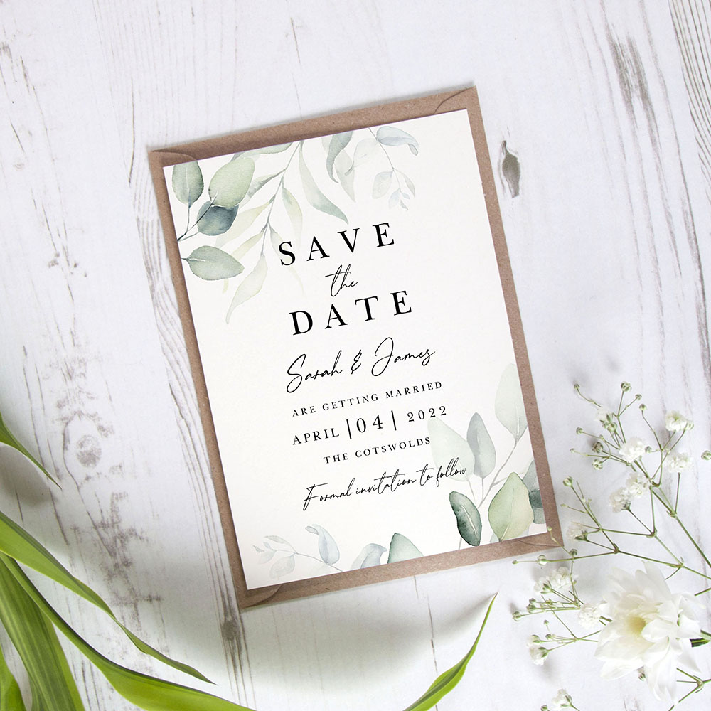 'Dreamy Eucalyptus DE10' Save the Date Sample