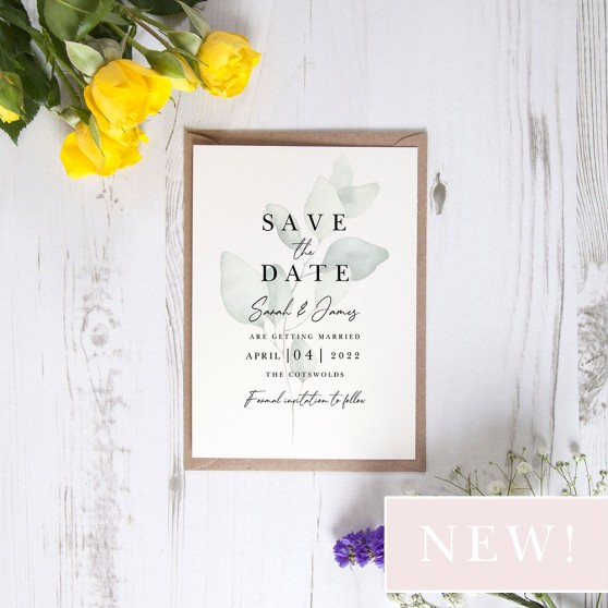 'Dreamy Eucalyptus DE11' Save the Date Sample