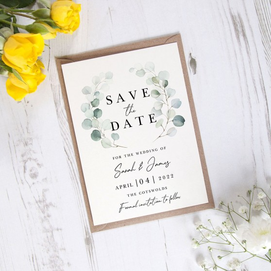 'Dreamy Eucalyptus DE12' Save the Date Sample