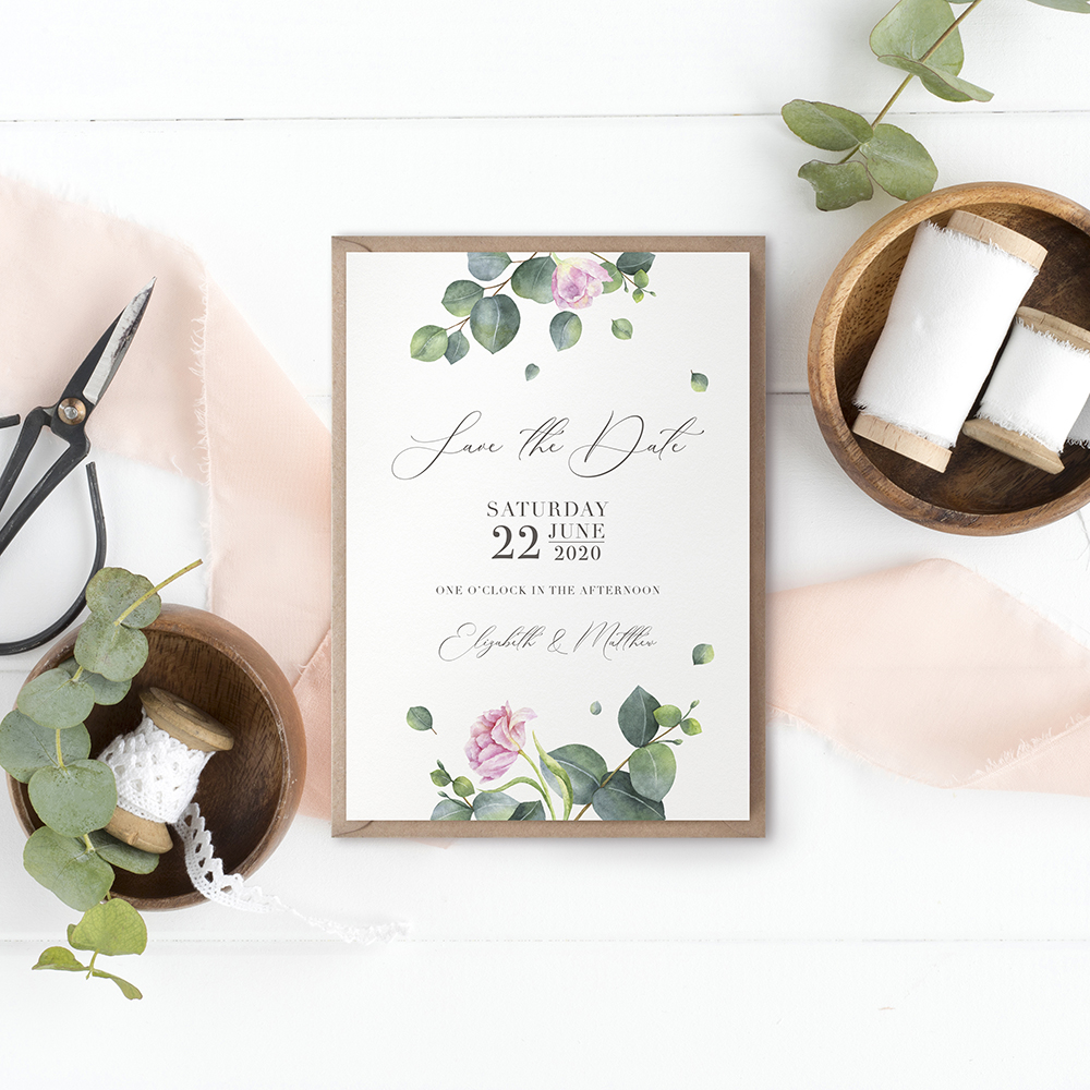 'Eucalyptus Blush' Save the Date