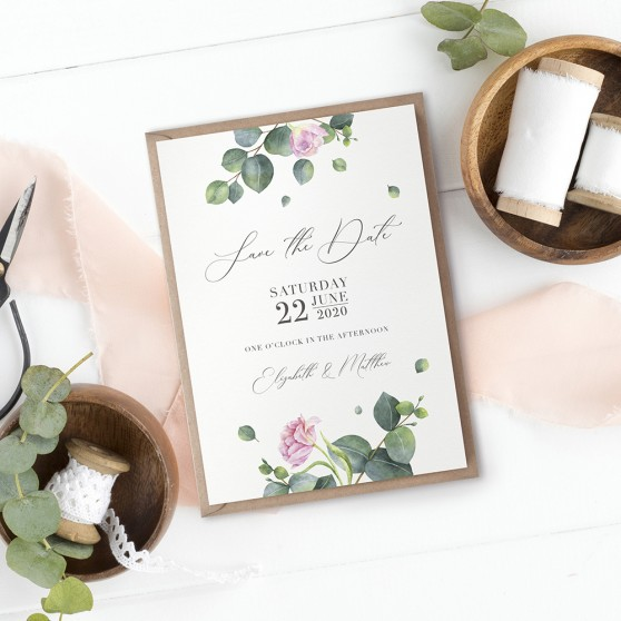 'Eucalyptus Blush' Save the Date Sample