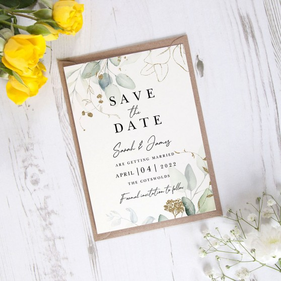 'Green & Gold Eucalyptus EG10' Save the Date Sample