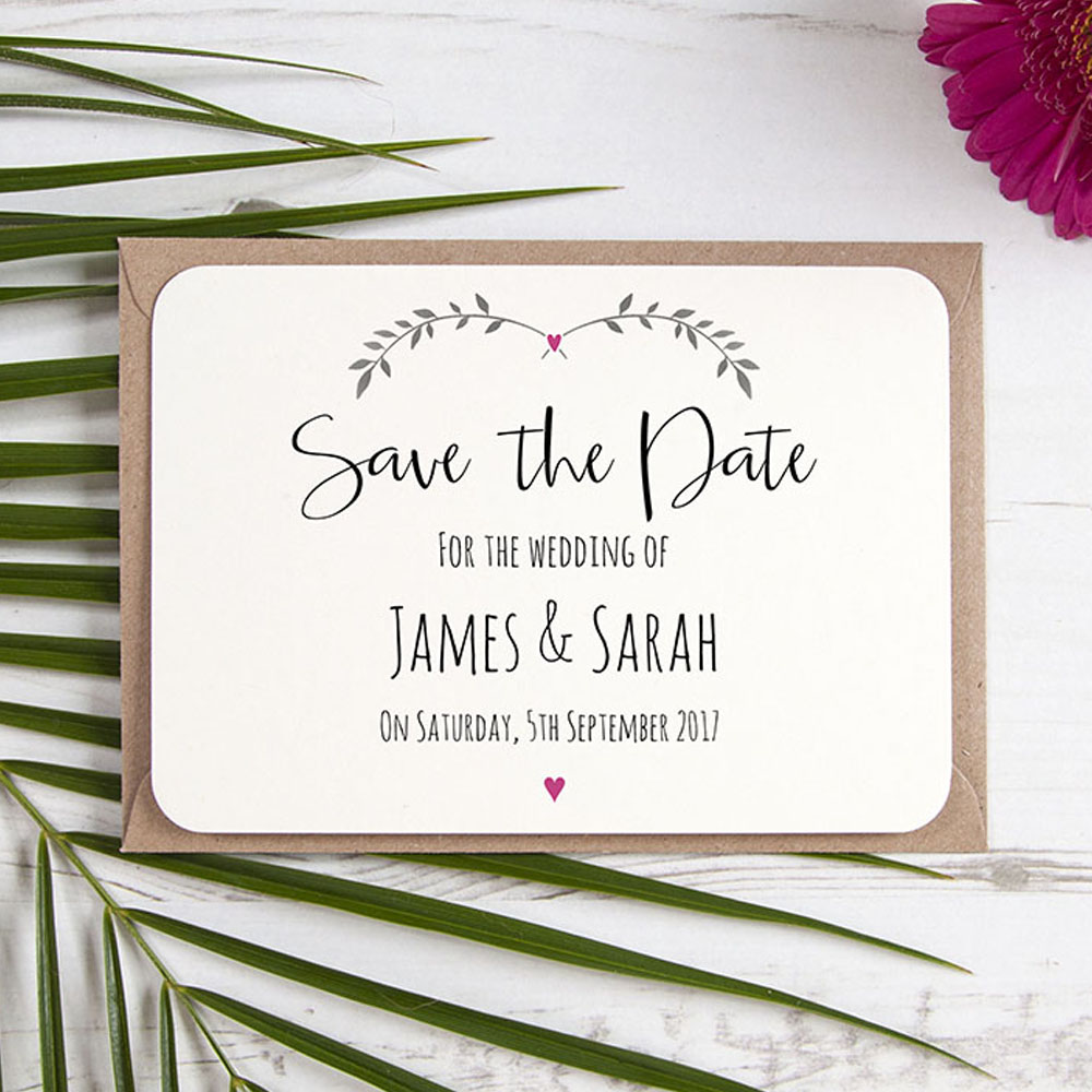 'Fuchsia Ivy Design' Save the Date Sample