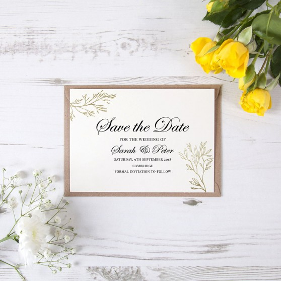 'Gold Leaf Design' Save the Date