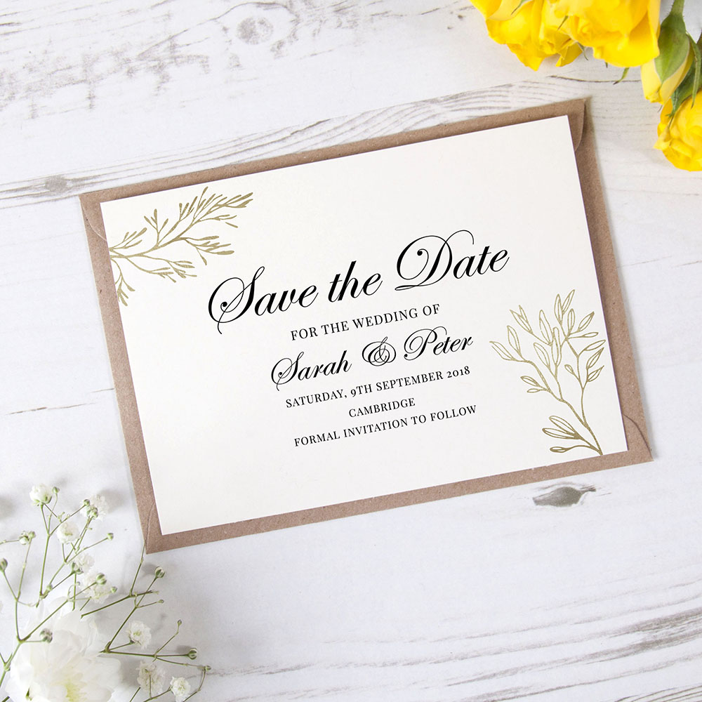 'Gold Leaf Design' Save the Date Sample