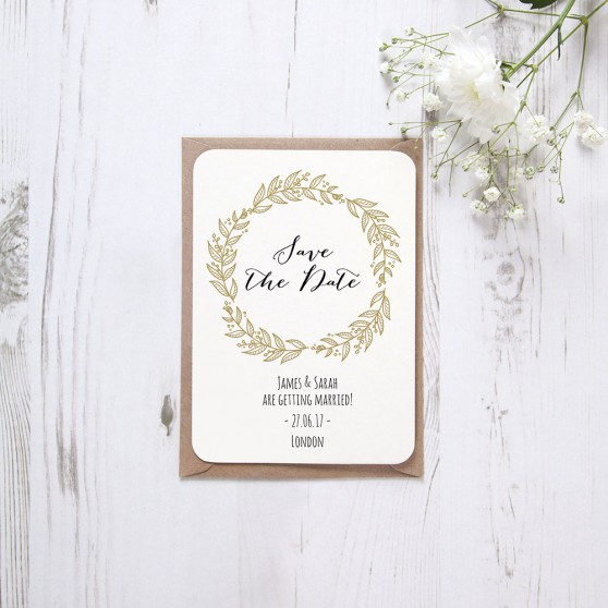 'Gold Wreath' Save the Date Sample