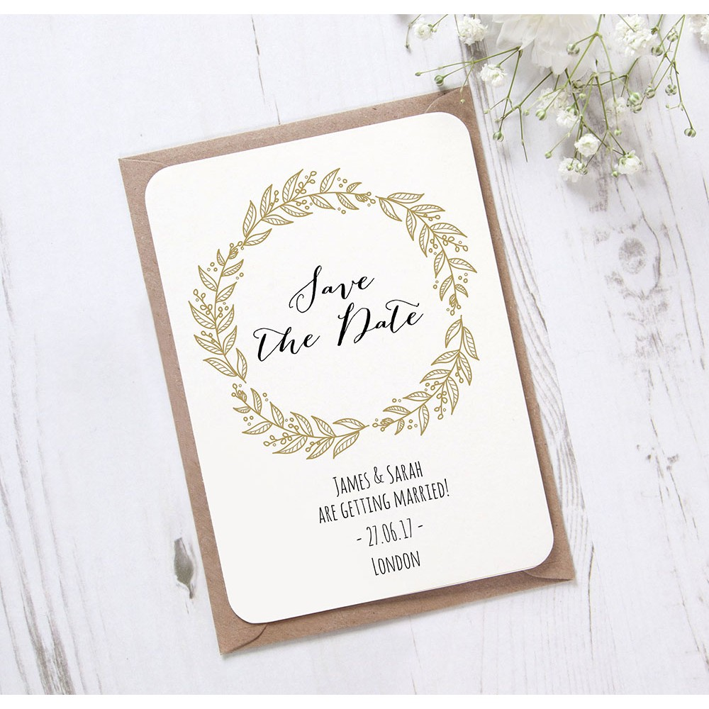 'Gold Wreath' Save the Date
