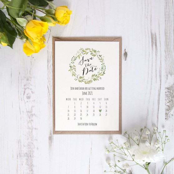 'Green Floral Calendar GF12' Save the Date Sample