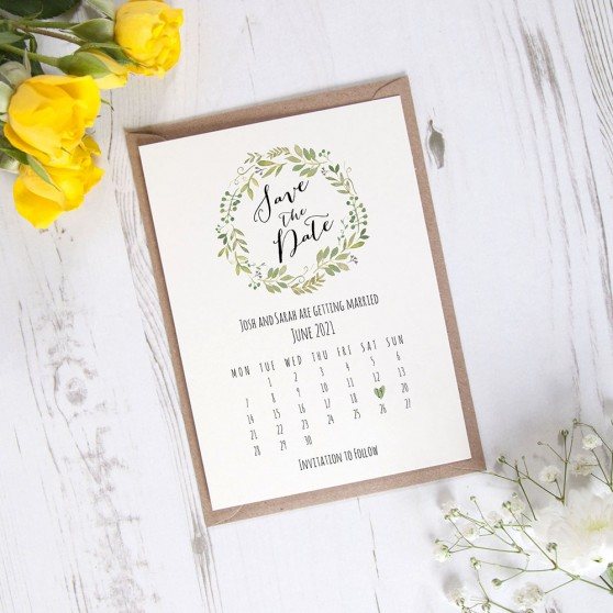 'Green Floral Calendar GF12' Save the Date