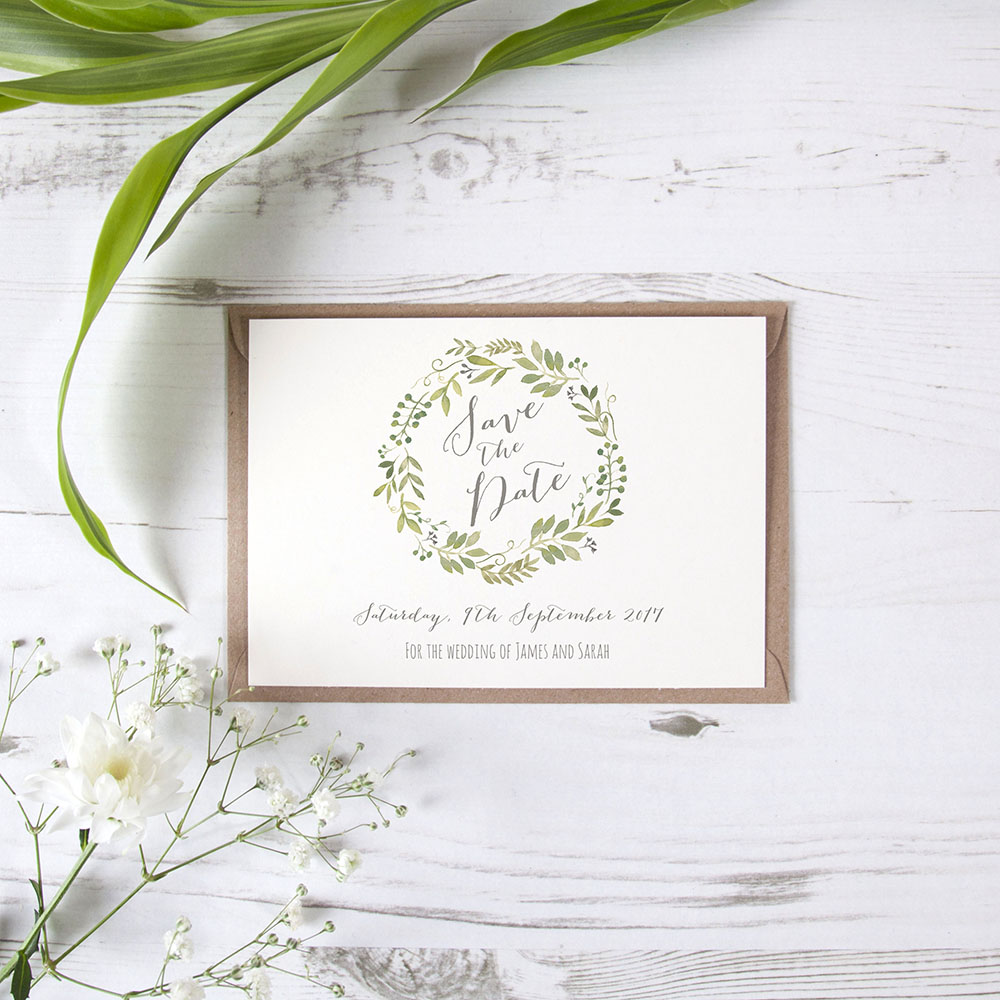 'Green Floral Watercolour' Save the Date Sample