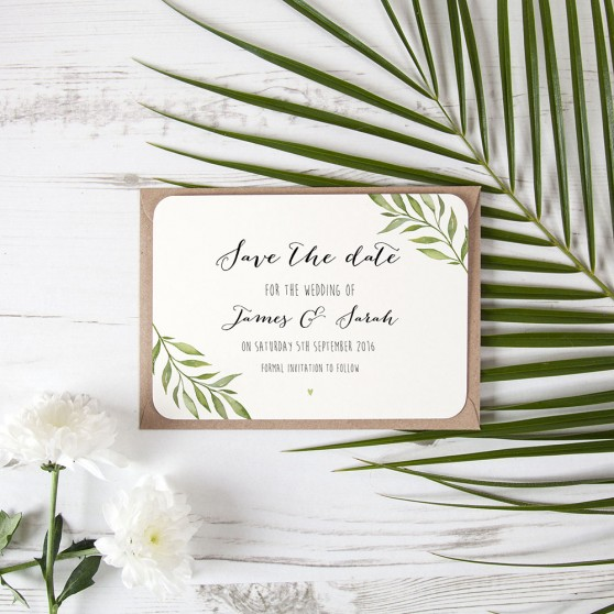 'Green Plant' Save the Date Sample