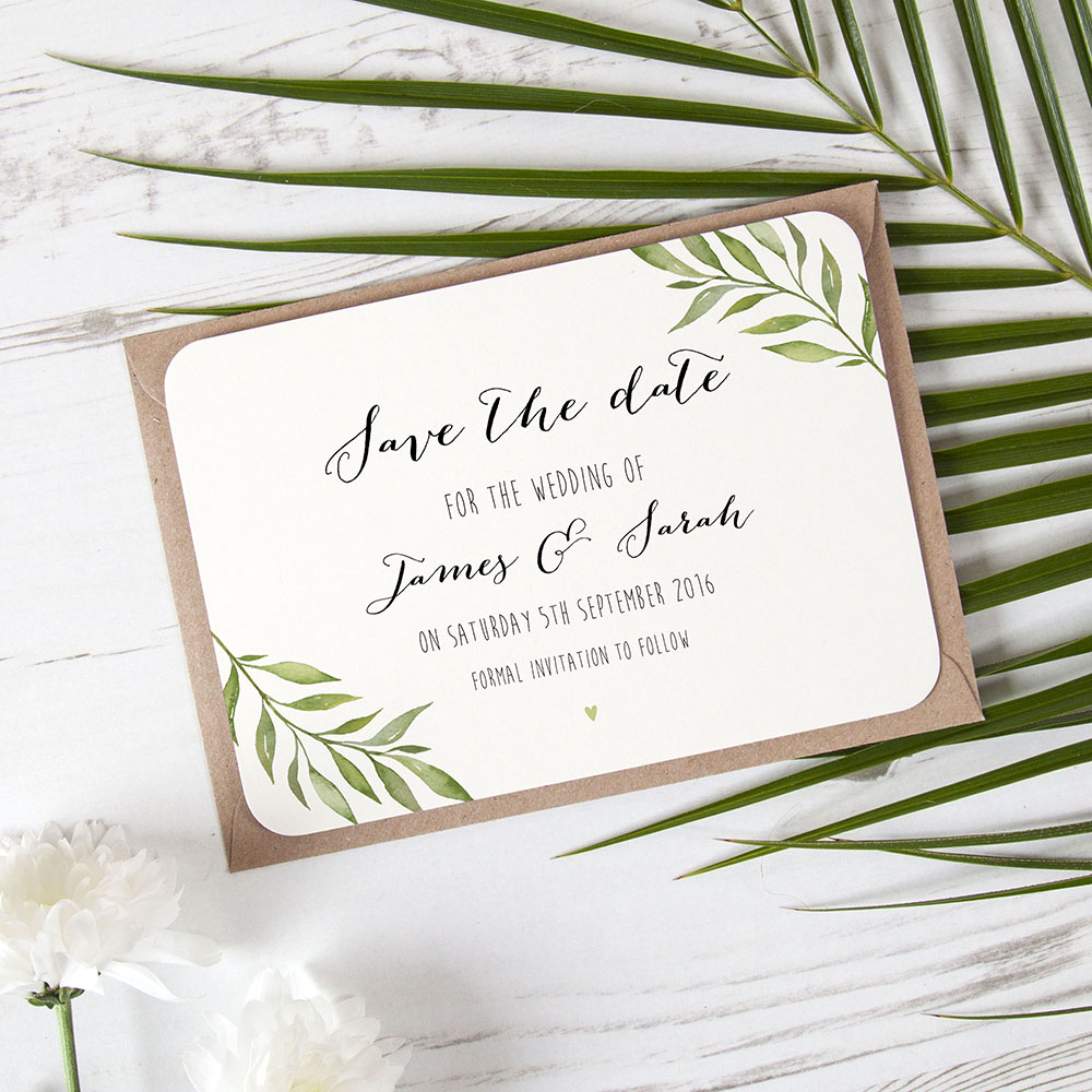 'Green Leaf' Save the Date Sample