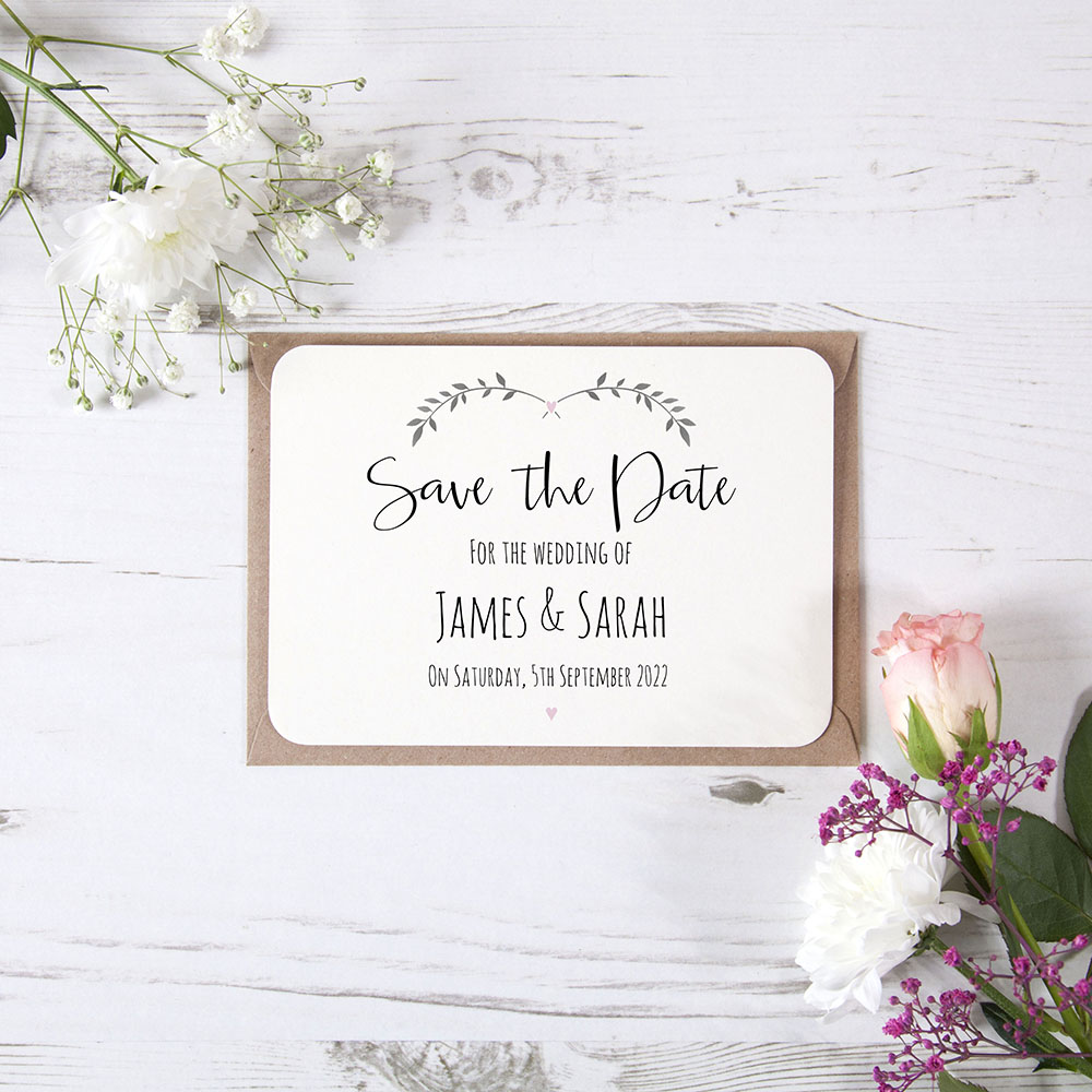 'Pink Ivy Design' Save the Date Sample