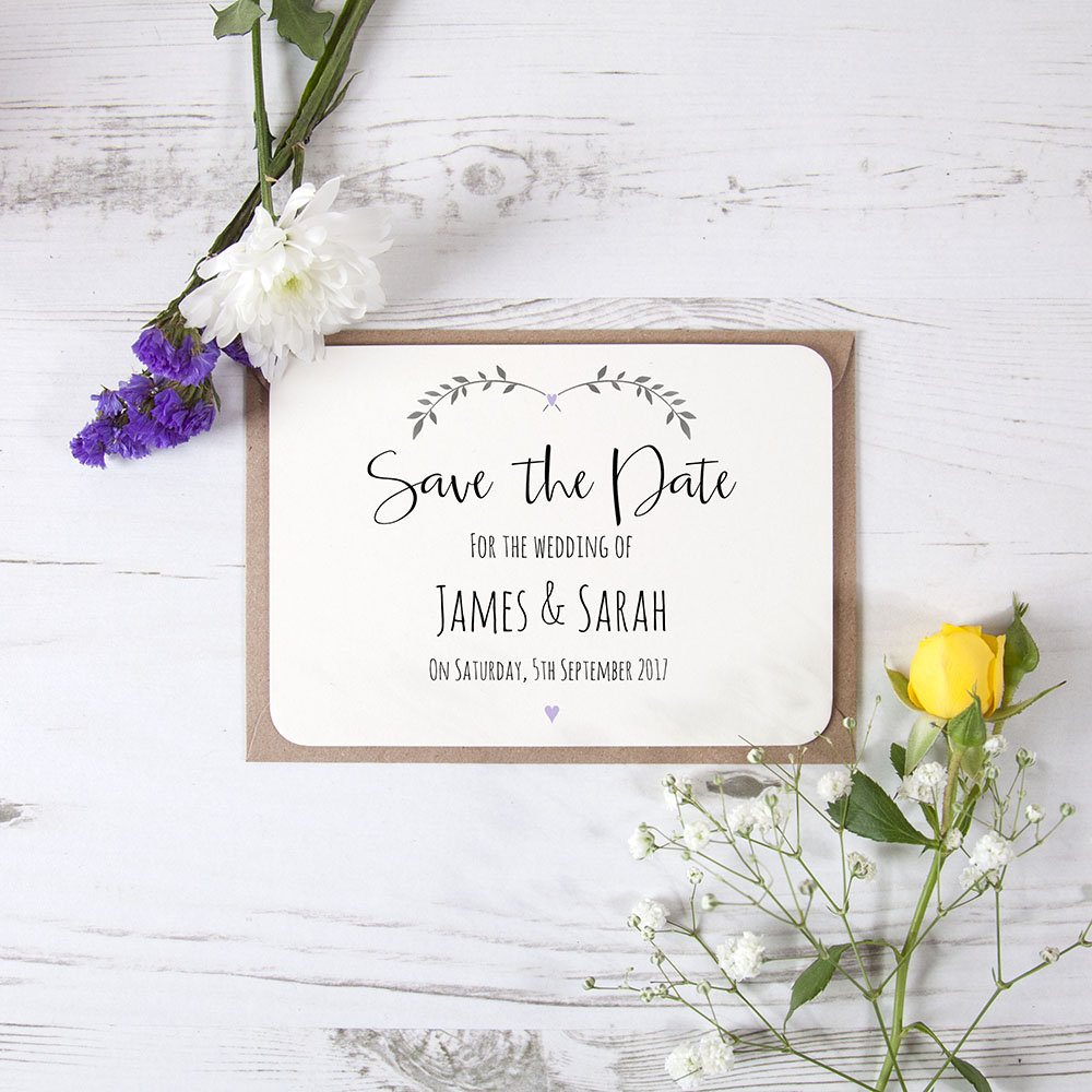 'Lavender Ivy Design' Save the Date Sample