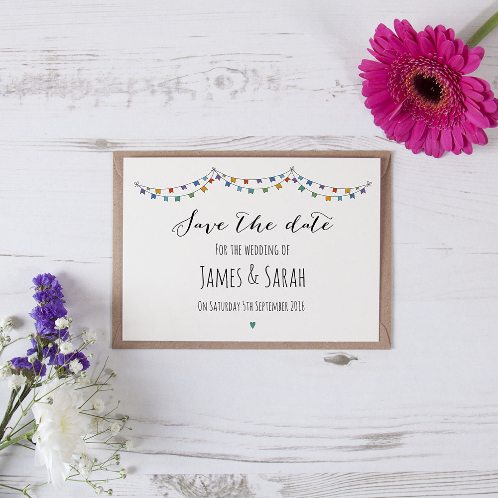 'Multi Flag Bunting' Save the Date Sample