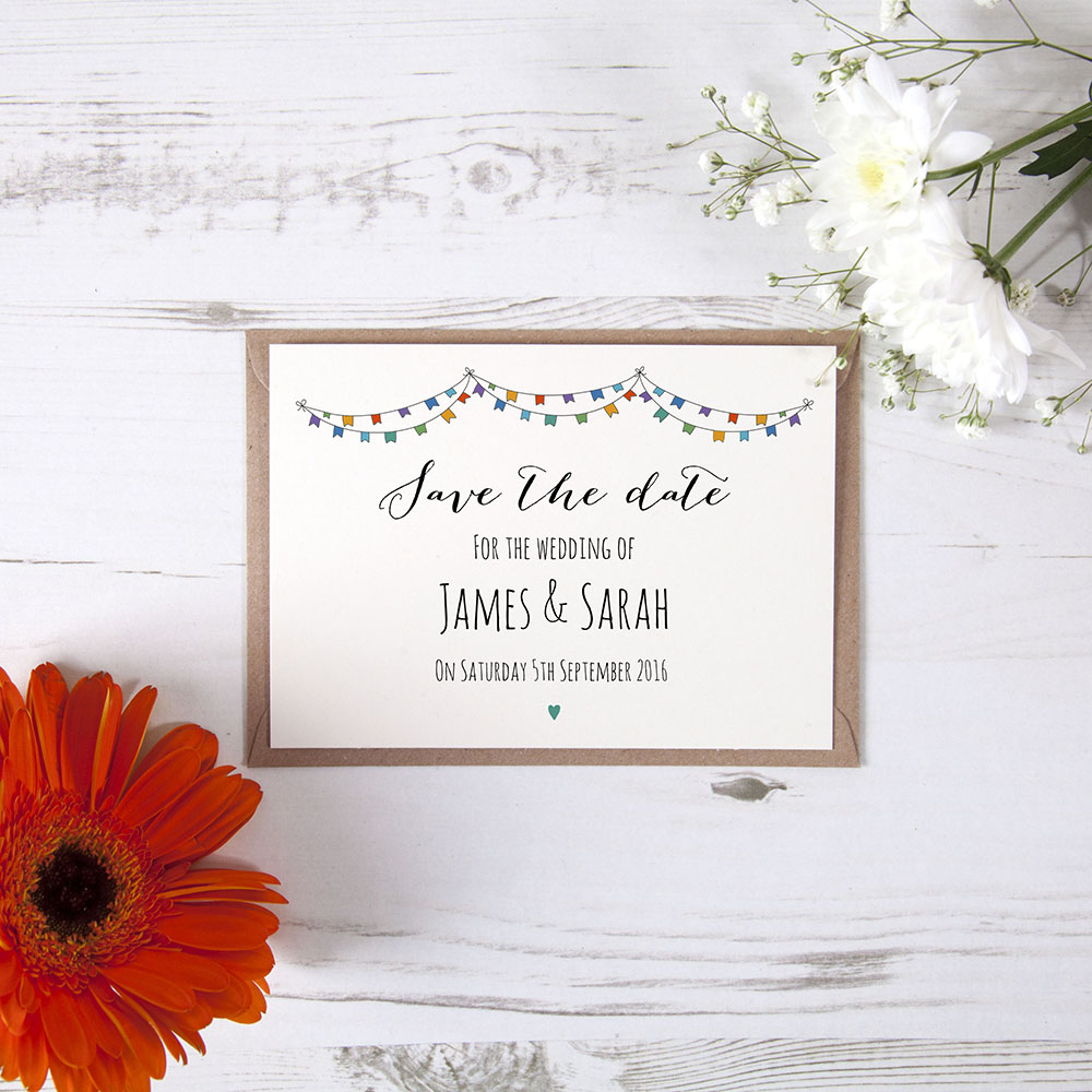 'Multi Flag Bunting' Save the Date