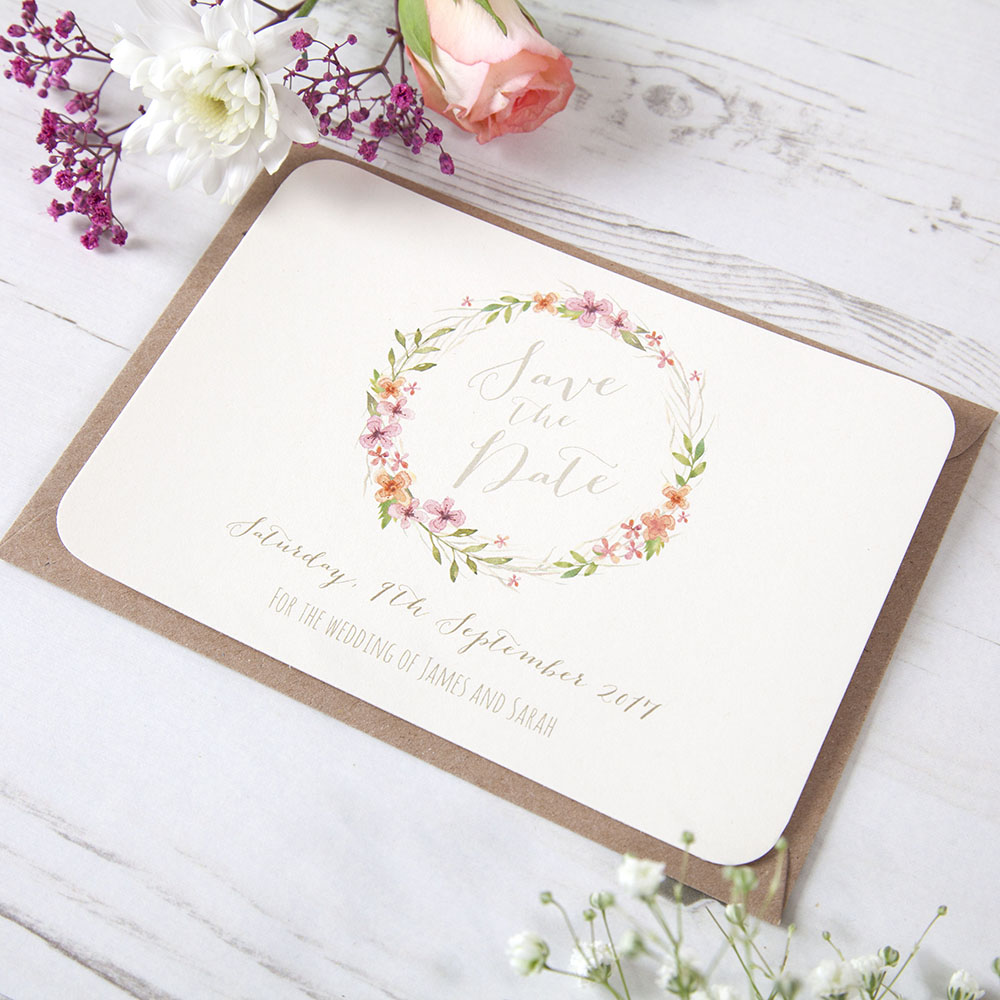 'Multi Floral Watercolour' Save the Date