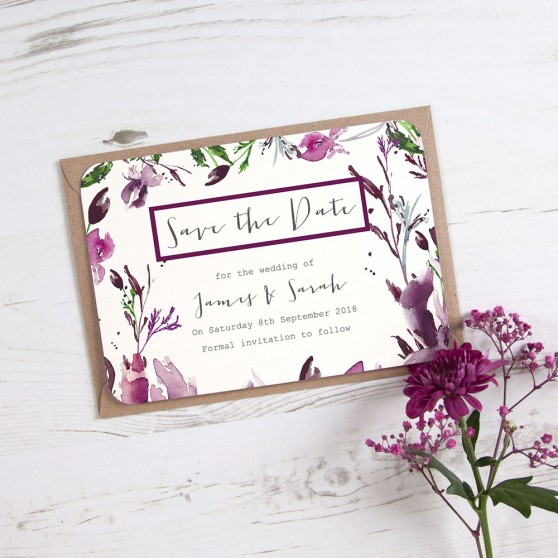 'Pink Iris' Save the Date Sample