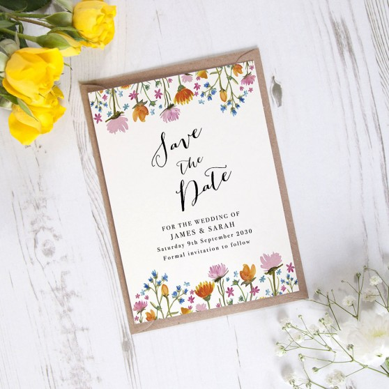'Wild Floral' Save the Date Sample