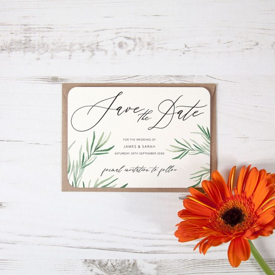 'Willow Eucalyptus' Save the Date Sample