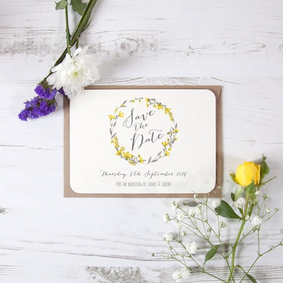 'Yellow Floral Watercolour' Save the Date Sample