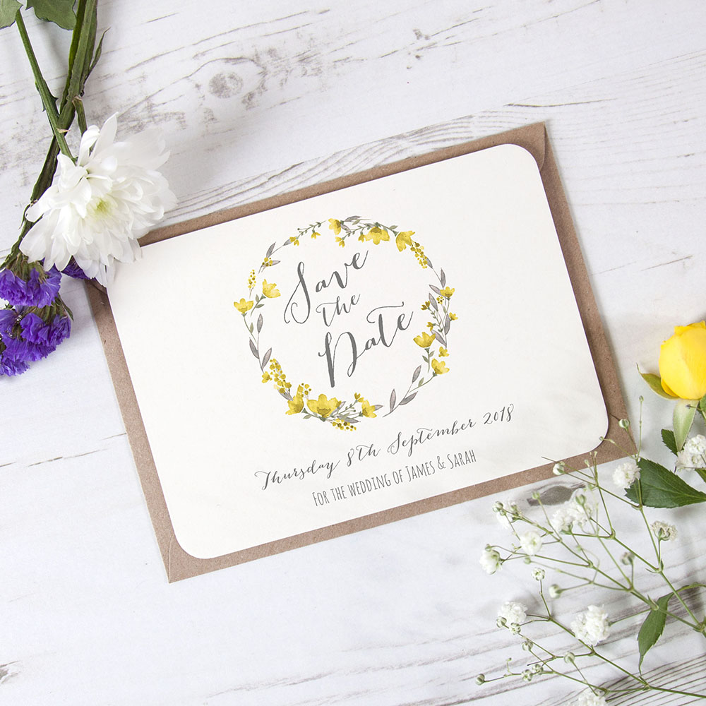 'Yellow Floral Watercolour' Save the Date