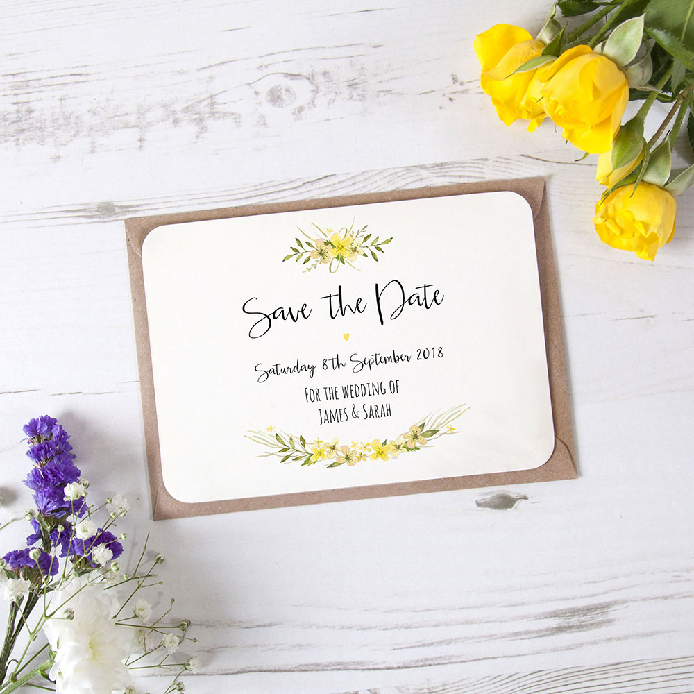 'Yellow Multi Floral Watercolour' Save the Date Sample
