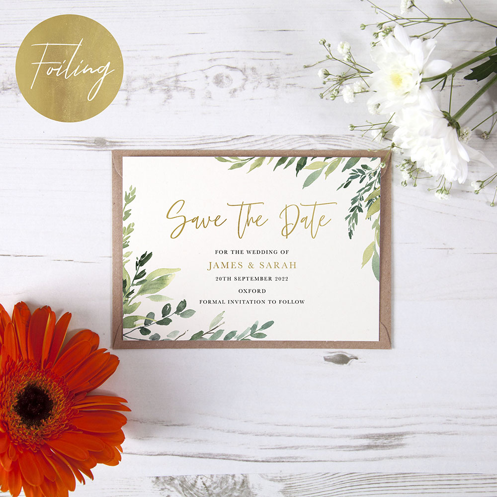 'Back to Nature' Foil Save the Date Sample