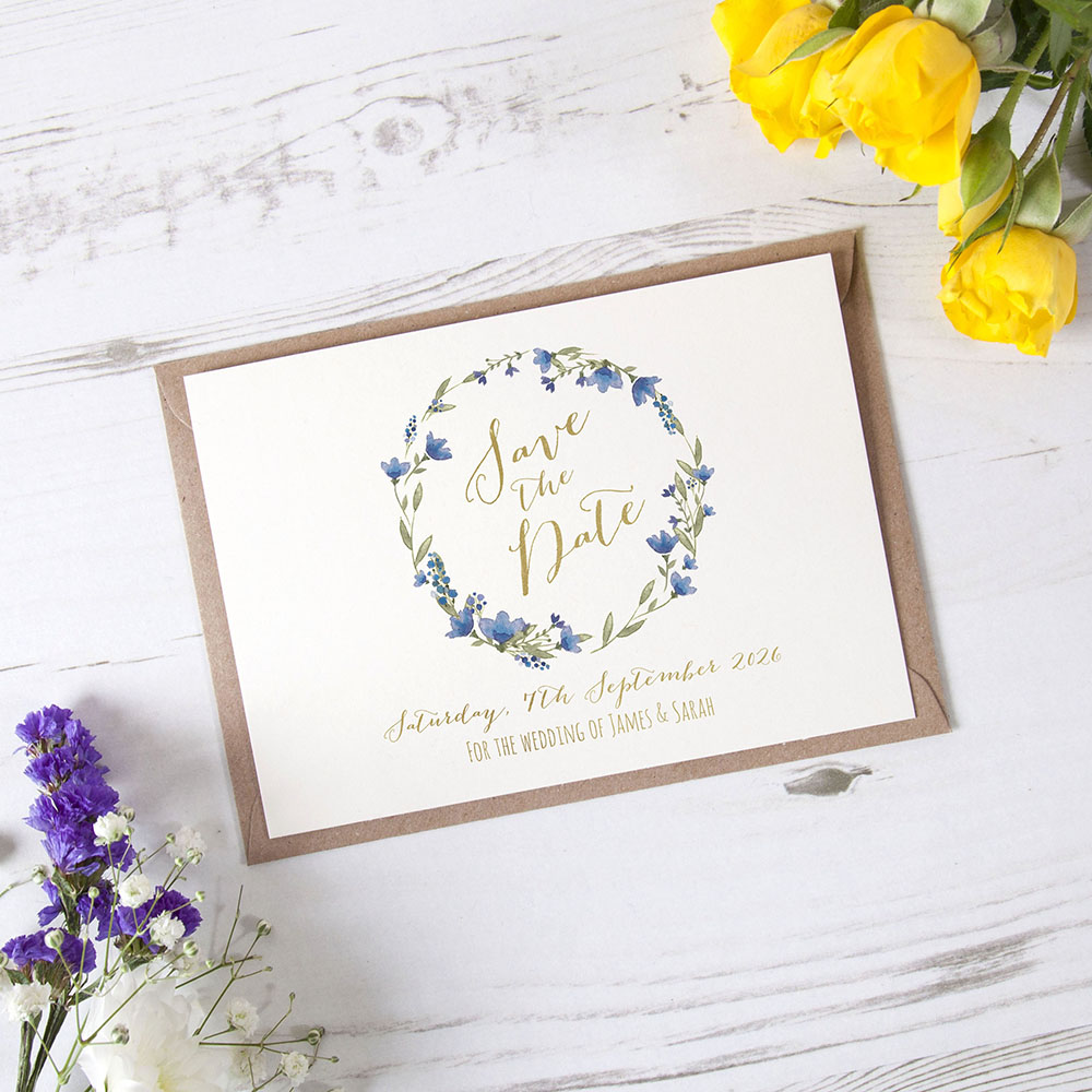 'Blue Floral Watercolour' Foil Save the Date Sample