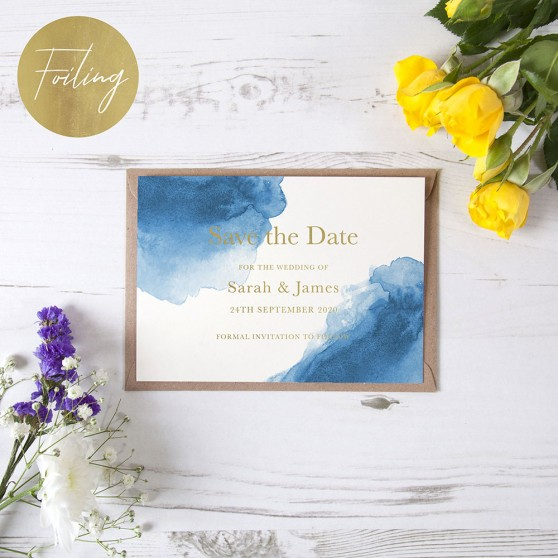 'Blue Watercolour Splash' Foil Save the Date Sample