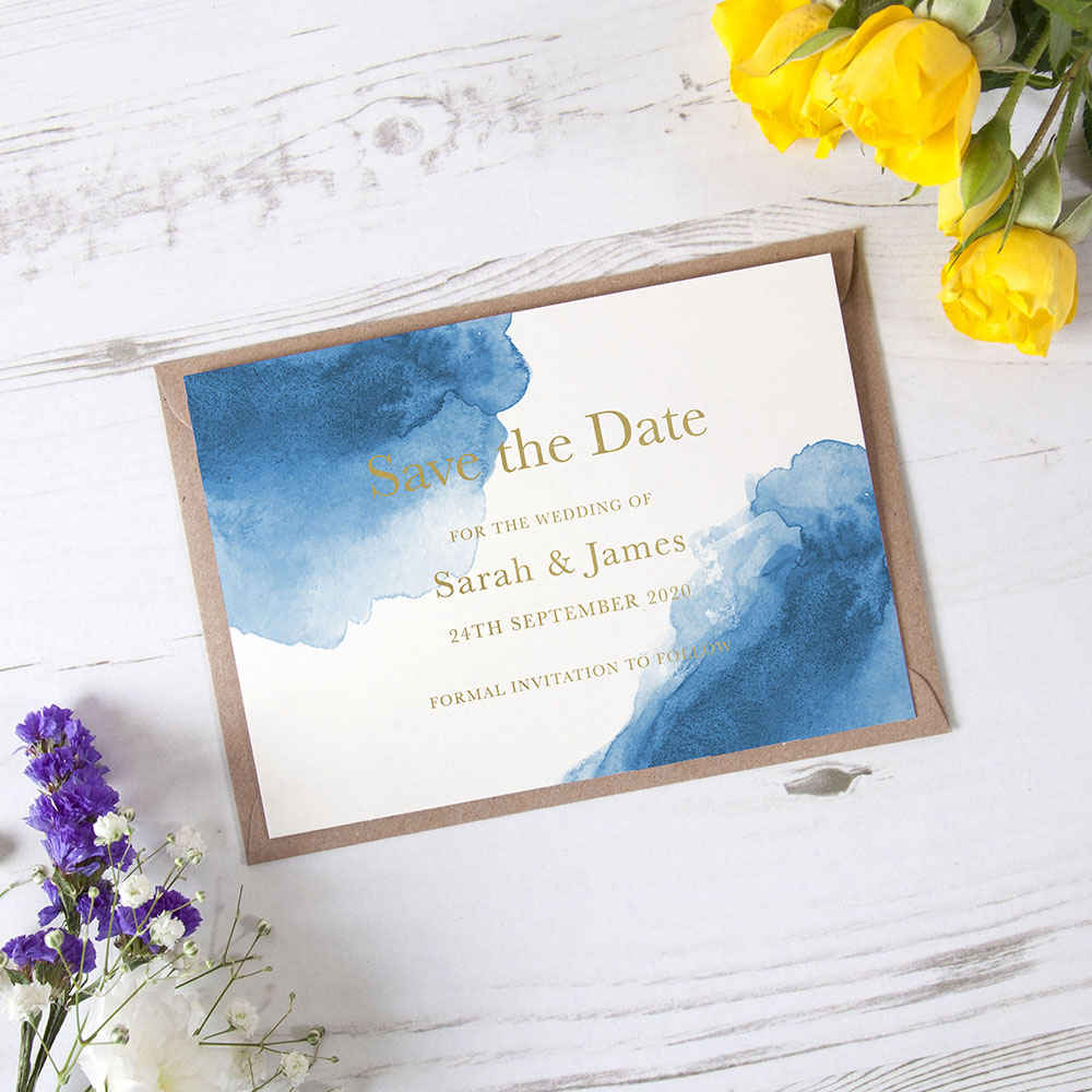 'Blue Watercolour Splash' Foil Save the Date