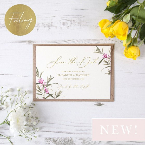 'Pink Botanical PB10' Foil Save the Date
