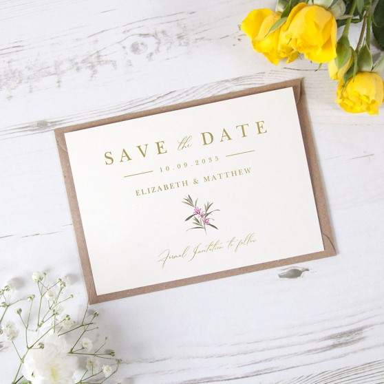'Pink Botanical PB11' Foil Save the Date