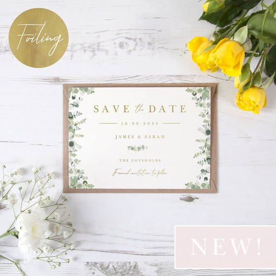 'Classic Eucalyptus CE10' Foil Save the Date
