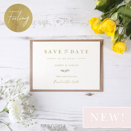 'Classic Eucalyptus CE11' Foil Save the Date