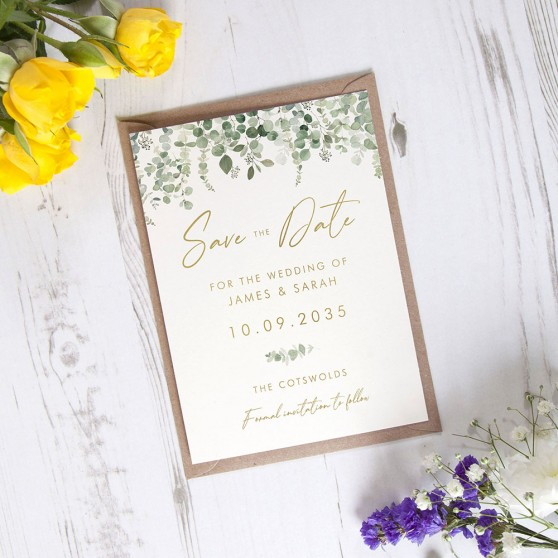 'Classic Eucalyptus CE14' Foil Save the Date
