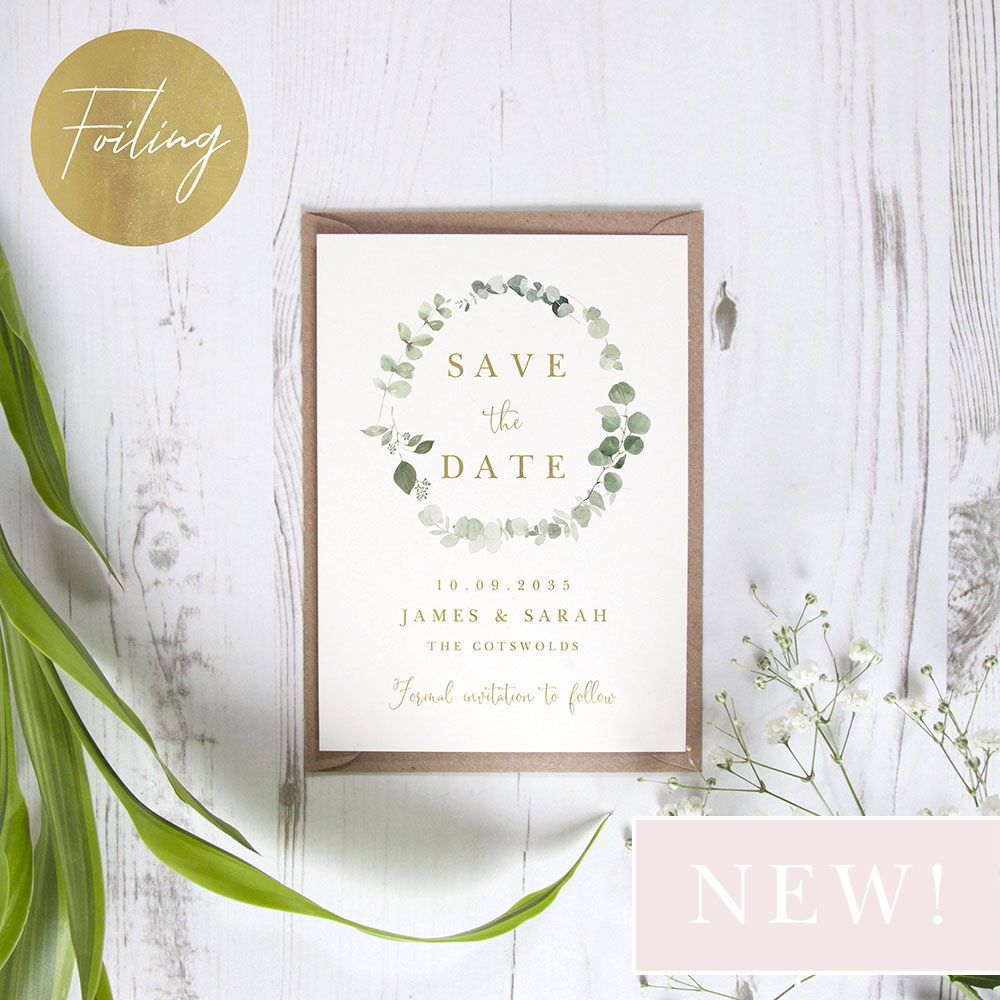 'Classic Eucalyptus CE15' Foil Save the Date