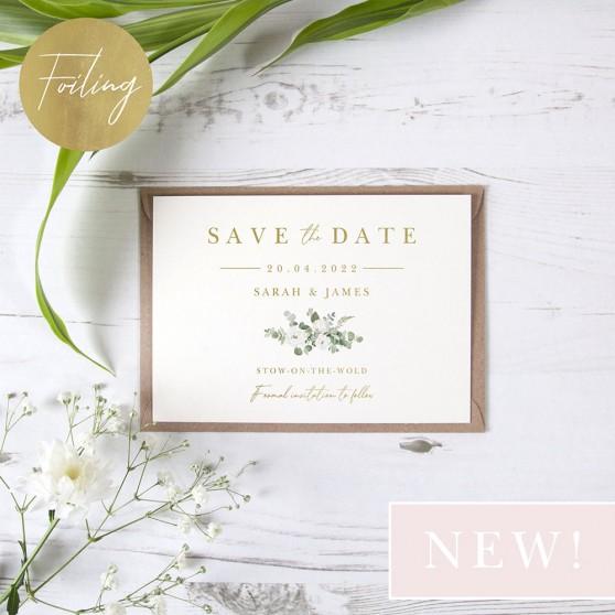 'Classic Eucalyptus CE18' Foil Save the Date