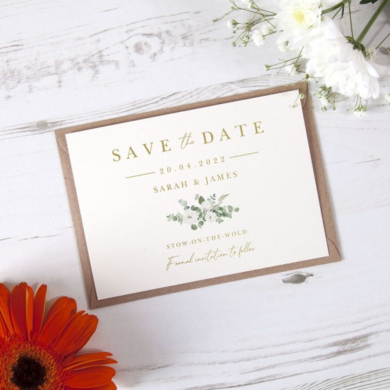 'Classic Eucalyptus CE18' Foil Save the Date