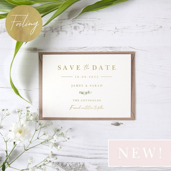'Classic Eucalyptus' Foil Save the Date Sample