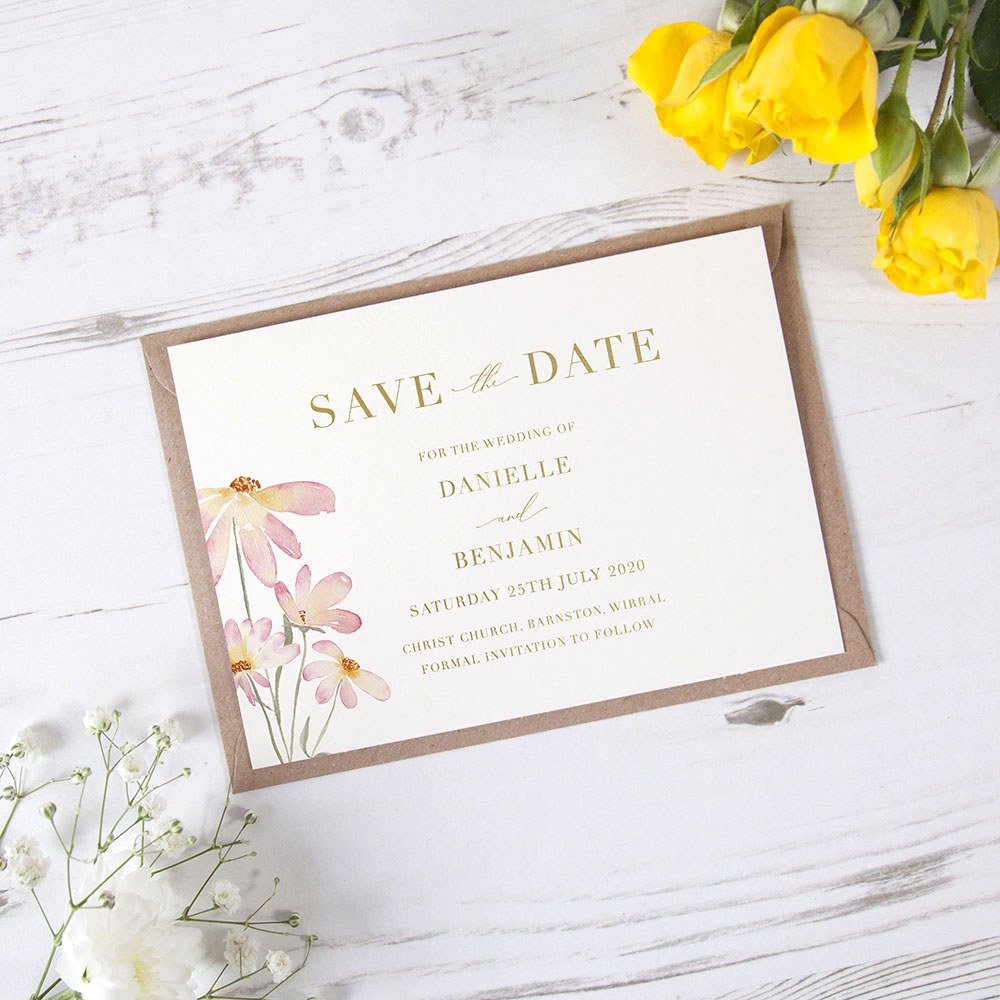 'Daisy Pink' Foil Save the Date Sample