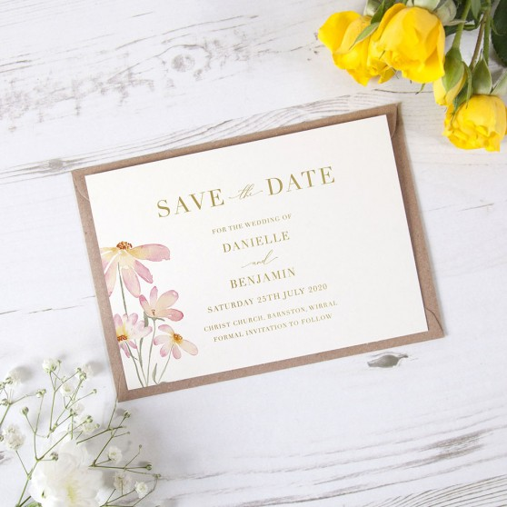 'Daisy Pink' Foil Save the Date